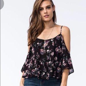 NWT Anthropologie flower boho cold shoulder shirt